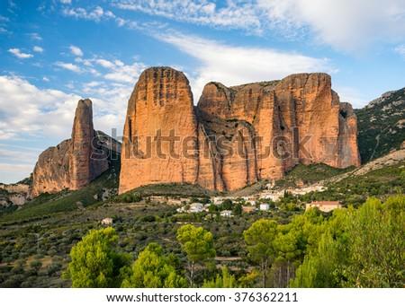 Mountains landscape, Mallos de Riglos, Aragon, Spain - stock photo