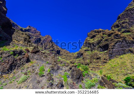 Mountains landscape on Tenerife island in Spain at Sunny Day