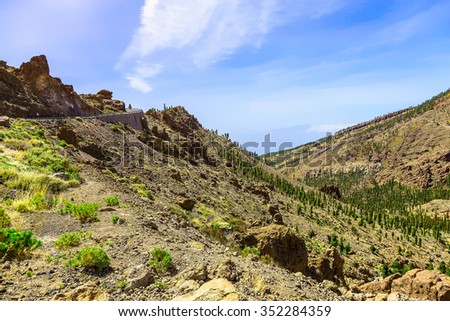Mountains landscape on Tenerife island in Spain at Sunny Day with Blue Sky