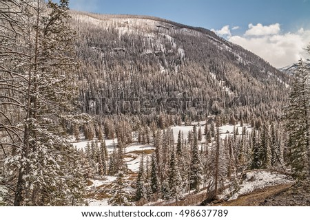 Mountains, lodgepole pines (Pinus contorta), snow, a valley, a meandering stream, and a blue sky with clouds on a May day in Yellowstone National Park