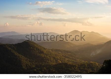 mountains Mist, Landscape misty - stock photo