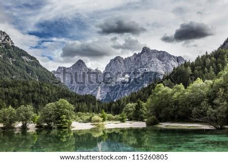 Mountains near Kranjska Gora, Slovenia. - stock photo