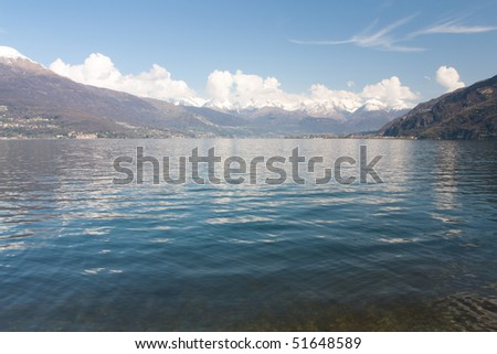 Mountains near lake with houses