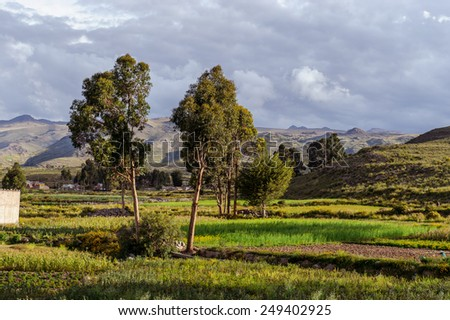 Mountains of Bolivia, altiplano, desert and green landscapes, trees and rocks, sand and water, sky and earth. Beautiful views of South America. views of the settlements from the bus window - stock photo