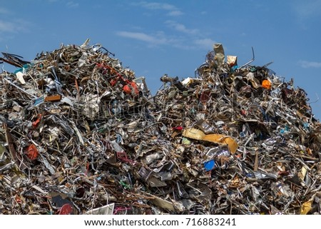 Mountains of collected metal at a recycling junkyard in Amsterdam the Netherlands.