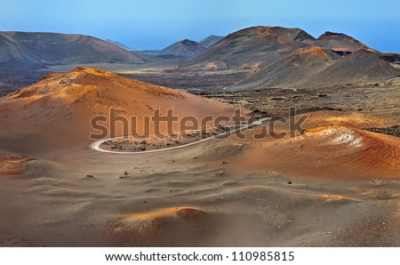 Mountains of fire, Montanas del Fuego, Timanfaya National Park in Lanzarote Island, Spain - stock photo