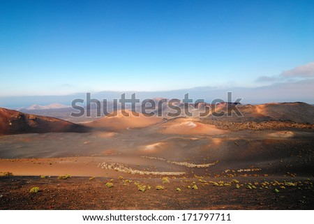 Mountains of fire Timanfaya National Park at morning time, Lanzarote, Spain - stock photo
