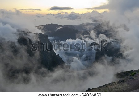 Mountains of Madeira island above the clouds at Pico do Areeiro and Ruivo - stock photo