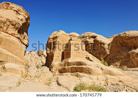 Mountains of Petra in Jordan, Middle East - stock photo
