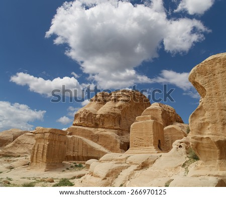Mountains of Petra, Jordan, Middle East. Petra has been a UNESCO World Heritage Site since 1985  - stock photo