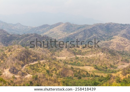Mountains of Thailand is deforestation, which is already in the dry season drought. - stock photo