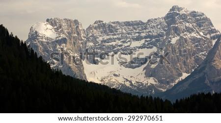 Mountains of the 'Gruppo di Cristallo', Auronzo di Cadore, Sexten Dolomites, South Tyrol, Italy - stock photo