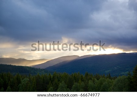 Mountains on a sunset in Norway - stock photo