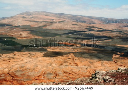 Mountains over the desert, panoramic view, landscape.