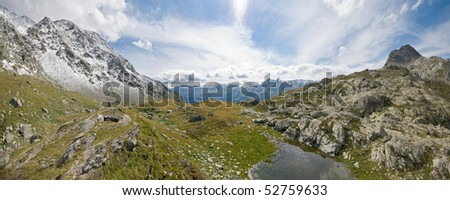 """Mountains panorama in """"Val Chiavenna"""", Italy - stock photo"""