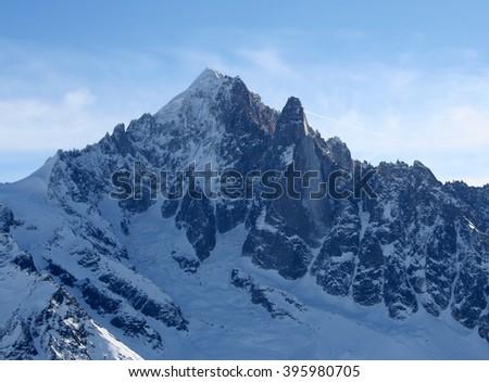 Mountains panorama Mont Blanc and Chamonix view. France. Petit Dru. - stock photo