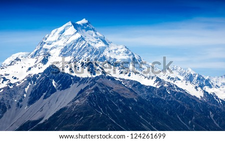 Mountains peak. Mount Cook. New Zealand - stock photo