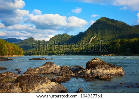 Mountains river with forest riverside.  Katun, Altai, Siberia