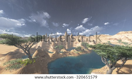 mountains rock at raining landscape render illustrations