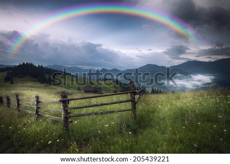 Mountains rural landscape after rain - stock photo