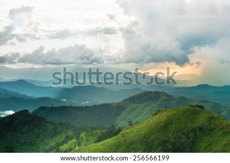 Mountains rural landscape in thunderstorm  - stock photo