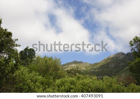 Mountains scenery and blue sky background