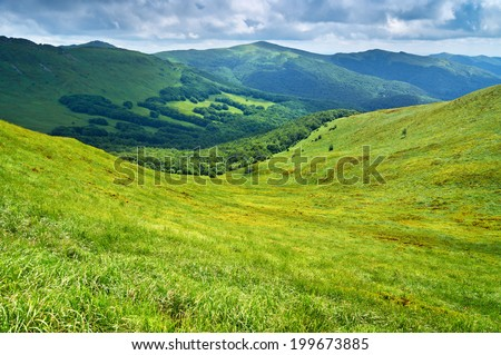 Mountains scenery. Panorama of grassland and forest in Bieszczady National Park. Carpathians landscape, Poland. - stock photo