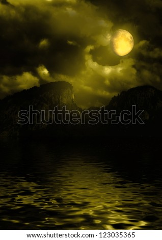 mountains shined with a moonlight - stock photo