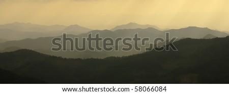Mountains silhouette - stock photo