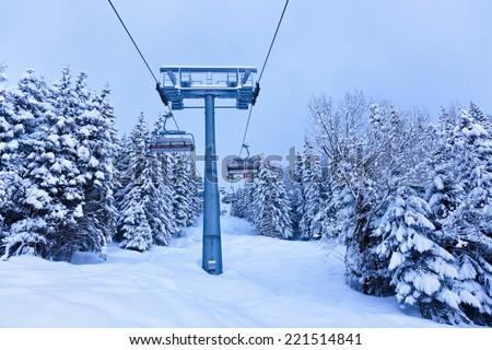 Mountains ski resort Austria - nature and sport background - stock photo