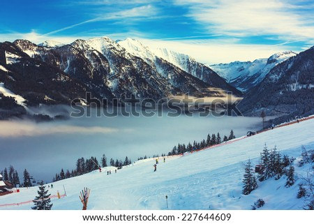 Mountains ski resort in Austria - nature and sport toning picture  - stock photo