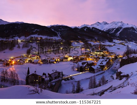 Mountains ski resort Solden Austria - nature and architecture background