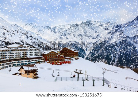 Mountains ski resort Solden Austria - nature and sport background - stock photo