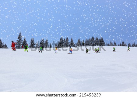 Mountains ski resort Zell am See Austria - nature and sport background - stock photo