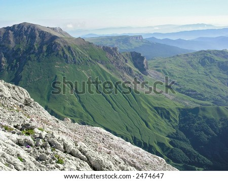mountains, sky and clouds. Russia, Fisht mountain. - stock photo