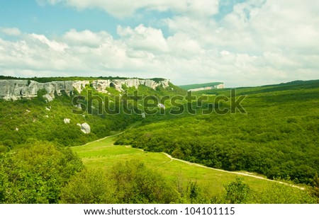 Mountains, sky and green fields in the Crimea, Ukraine