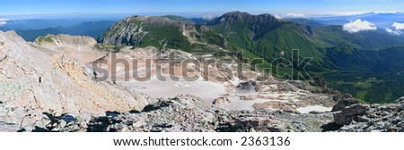mountains, snow, sky and clouds - stock photo