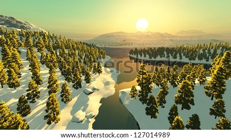 mountains snow sunset forest lake river - stock photo