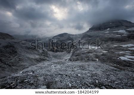 Mountains stormy weather, Val di Fassa, Italian Dolomites - stock photo