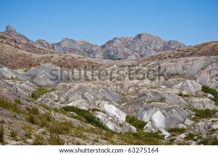 Mountains stripped bare of trees by the blast of Mt. Saint Helens - stock photo