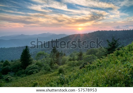 Mountains Summer Sunset Landscape on Blue Ridge Parkway Evening - stock photo