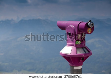 Mountains telescope - stock photo