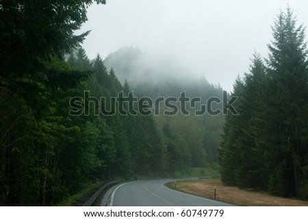 Mountains, trees, and fog driving through Oregon