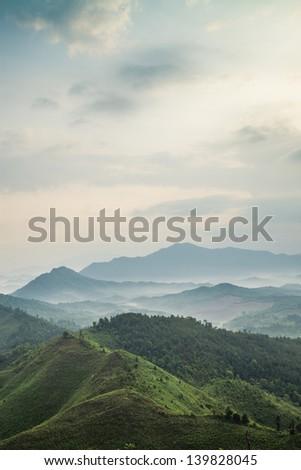 mountains under mist in the morning in Zixi county, Fuzhou city,Jiangxi Province,China - stock photo