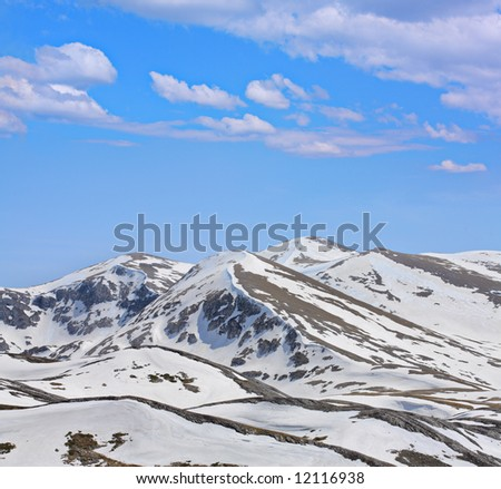 Mountains under snow - Scenery from Macedonia - stock photo