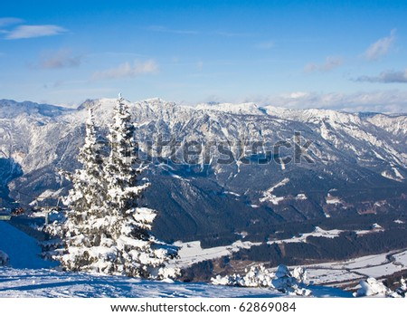 Mountains under snow. Ski resort  Schladming . Austria - stock photo