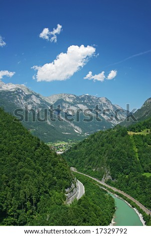 Mountains view (Alps, Salzburg, Austria) - stock photo