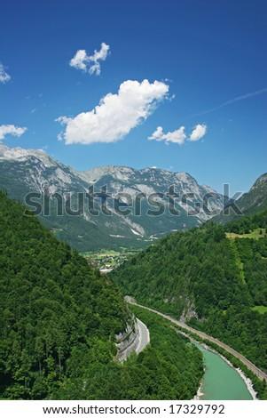 Mountains view (Alps, Salzburg, Austria) - stock photo
