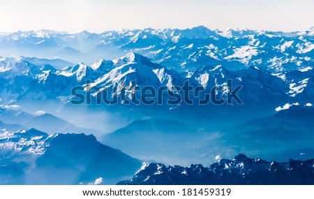Mountains. View from airplane. - stock photo