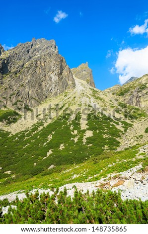 Mountains view from  trail to 5 lakes valley (Piat Spisskich Ples), High Tatras, Slovakia